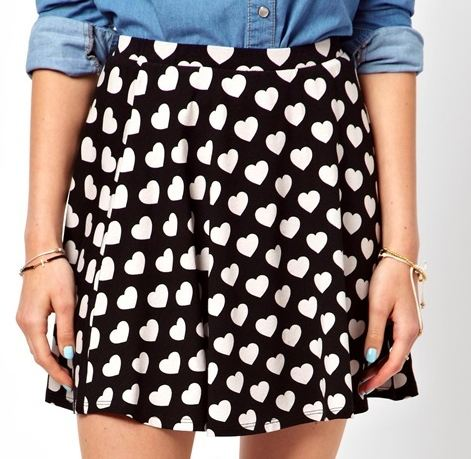 heart asos skirt